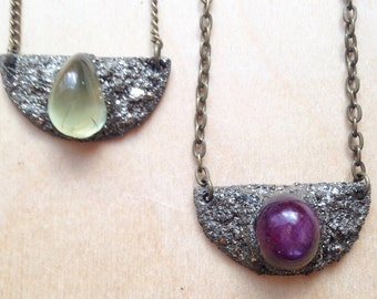SALE Peridot pyrite encrusted necklace, pyrite encrusted crystal necklace