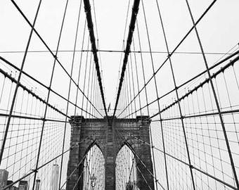 Brooklyn Bridge Photograph, New York City Print, Black and White Fine Art Photography, Brooklyn Bridge Print, NYC Photography, NYC Print