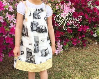 Reversible Vintage Camera Print Pillow Case Dress - Girls Dresses - Photography Dress - Camera Lens Dress - Modern Geometric Yellow & Black