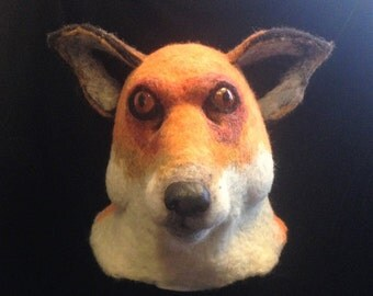 Fox mask - needle felted fox mask - felt animal mask - fox costume - full head theatre mask - animal fancy dress