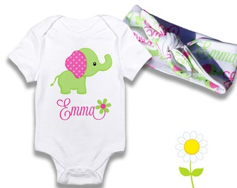 Personalized Baby Girl Coming Home Outfit - Elephant Bodysuit or Gown & Knotted Headband - Custom Name Head Wrap, One-Piece - Baby Girl Gift