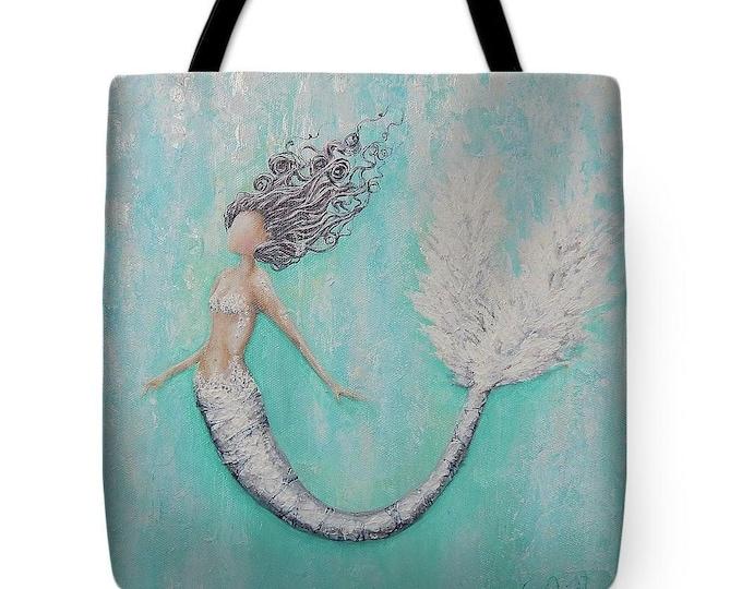Mermaid teal beach tote,  bagMermaid fabric gift bag, mermaid purse,  original painting named Tory by Nancy Quiaoit