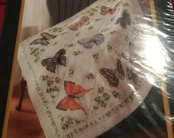 Bucilla butterfly collection stamped lap quilt