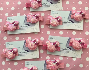 12 Minnie Mouse Inspired Hair Clips Party Favors-minnie mouse birthday-minnie mouse favors-minnie mouse  clips-minnie mouse party