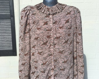Vintage 1970's Duck Print Polygeorgette Blouse Semi Sheer Button up Tan and Green Size Medium