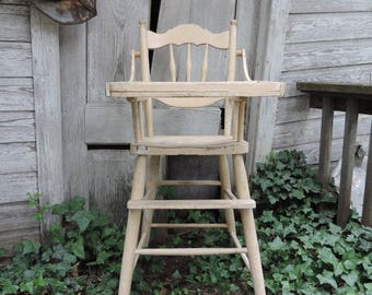Vintage High Chair Antique Wooden High Chair Childs  Naturally Distressed Primitive High Chair Photo Film  Prop Chair Decor SALE was 454.00