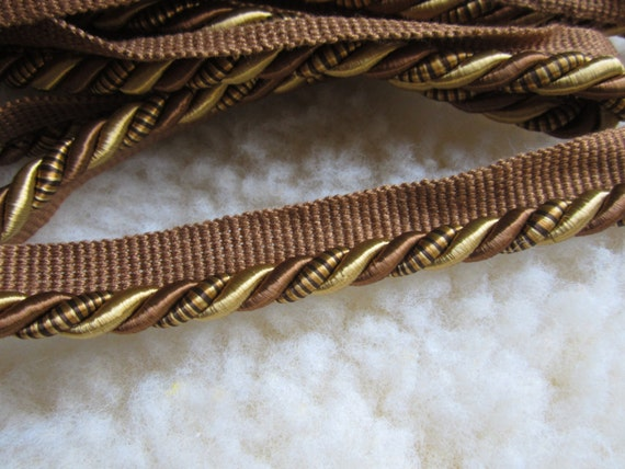 Twisted lip cording in gold and brown, 10.5 yards