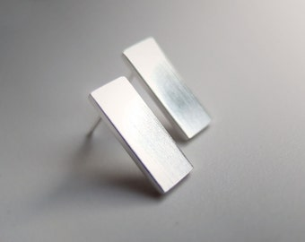 Sterling Silver Flat Rectangle Bar Studs, Minimalist Everyday Earrings, Brushed, Matte, Satin, or Mirror Finish