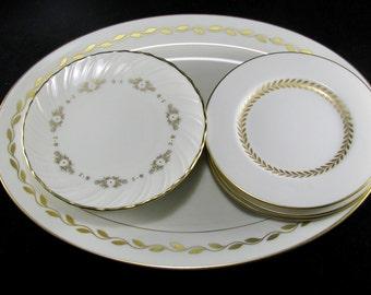 Lenox Fine China Collection, Oval Platter And 6 Dessert Plates, Golden Wreath, Golden Mood, Imperial, Elegant Vintage 7 pc Set