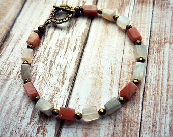 multi colored moonstone bracelet with brass antique gold spacers and toggle clasp-beaded moonstone bracelets-moonstone bracelet-moonstone