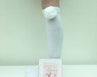Knee High Socks, Girls Socks, Pom Pom Socks, Over The Knee Socks, School Socks, Party Socks, Stocking Filler, Stocking Stuffa, Girls Present