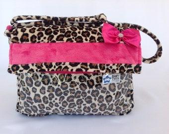 Stroller bag (style 1) - Tan Leopard / Hot pink