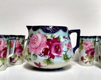Antique Nippon Lemon Aid-Ice Tea Pitcher w/ 6 Cups-Complete Set in Excellent Condition-Circa 1890-1910