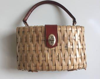 Vintage Plastic Coated Basket Purse Leather Trim