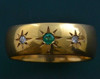 18ct Yellow Gold Vintage Ring With Diamonds And An Emerald (316l)