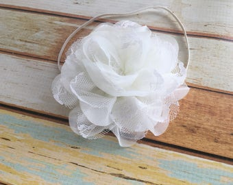 Baby Baptism Headband - Christening Headband - Ivory Baby Headband - Baptism Head Band - Girls Lace Flower Headband Photo Prop -