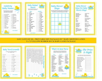 Yellow Rubber Duck Baby Shower Game, Printable Rubber Ducky Shower Game, Ducky Baby Game, Yellow Duck Baby Game - Printables 4 Less 0073