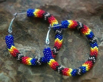 Peyote Stitch Hoops, Beaded Hoop Earrings, Native Earrings, Native American Beadwork, Native Beading, Native Beadwork, Beaded Hoops