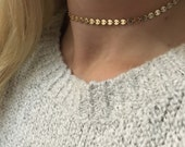 SAVONA - Gold Disc Choker Necklace | Perfect Choker | Gold Choker | Dainty Choker | Statement Choker | Gold Dot Necklace | Coin Necklace