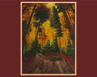 "Original 18x24"" Oil Painting - Forest Trees Stump Wall Art"