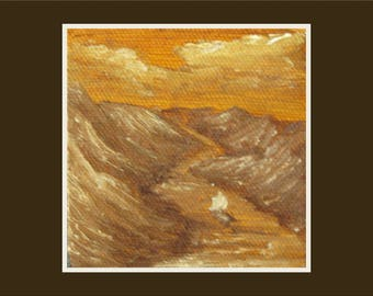 "Miniature (3x3"") Oil Painting on Easel - Sepia River Sailing Waterfall"
