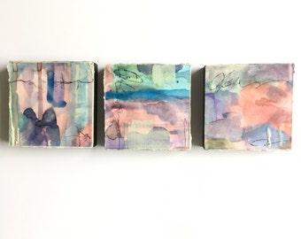Original abstract art, encaustic art, set of 3, watercolor art, 4x4 each, blue art, green art, ready to hang art, Mid Century modern decor