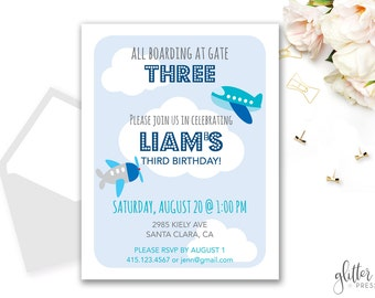 Boy Airplane Birthday Invitation Printable, Custom downloadable boy plane birthday Invite, boy first second third birthday invite