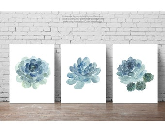 Succulent Plant set 3 flowers Blue Watercolour Painting, Cactus Flower Botanical Living Room Decor, Cacti Succulents Minimalist Art Print