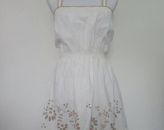 Vintage Sun Dress Summer dress off white cotton embroidered ruffle skirt bohemian 1970's