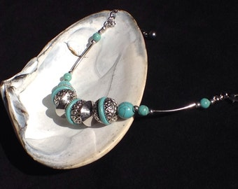 Turquoise and Silver Bracelet with Lobster Clasp Closure