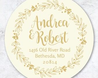 Gold Laurel Return Address Sticker   Personalized Return Address Labels   Gift Idea   Wedding, Newlywed, Housewarming Gift