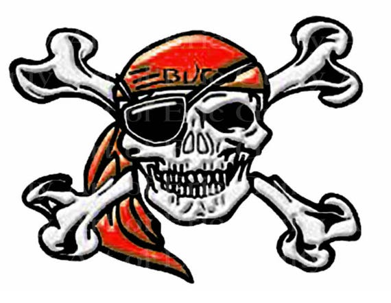Red Pirate Skull Mascot Birthday - Edible Cake and Cupcake Topper For Birthday's and Parties! - D22481