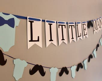 Little man baby shower, little man decorations, boy baby shower, prince baby shower, mustache decor, mustache banner, garland, bodysuit