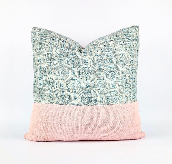 Blush Pink African Mudcloth And Blue Linen Batik Textile Pillow Cover Various Sizes