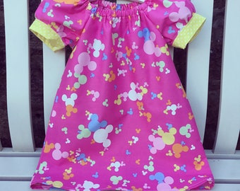 CAN BE PERSONALISED Pink Disney Mickey Minnie Mouse peasant dress in quality cotton fabric with contrast yellow cuff sleeves age 12 m to 5/6