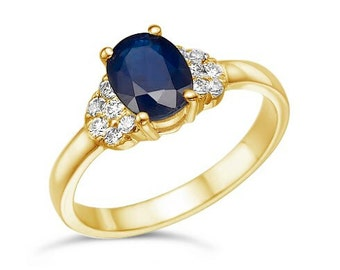 Blue Sapphire Diamond Engagement Ring-Yellow Gold Ring-Sapphire  Engagement Ring -Anniversary present-promised ring-blue stone-Sapphire rin