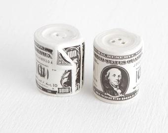 Vintage Money Roll Salt and Pepper Shakers, Ceramic Hundred Dollar Bill Shakers