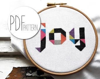 Inpiriational cross stitch quote JOY awesome modern geometric hand embroidery font, colourful techno xstitch xstich crossstich in the hoop