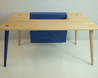 Magazine Table in Ash and Blue Leather