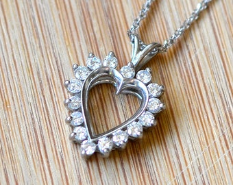 Platinum Diamond Heart Pendant - Heart Shaped Diamond Necklace - Valentine's Day - Anniversary Gift - April Birthstone - Vintage Pendant