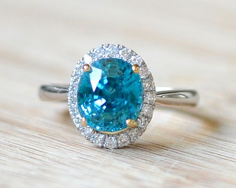 Blue Zircon Engagement Ring - Halo Ring - Diamond Engagement Ring - Zircon Ring - Halo Diamond Ring - Large Blue Zircon Ring