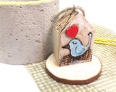 Pyrography Art Mini Bird House, New Home Pun Gift, Home Tweet Home, Woodburnt Bird Illustration, House Moving Present, Tiny Wooden House.