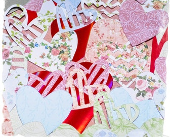 Shabby chic heart shape embellishments valentines scrapbooking die cuts x 15