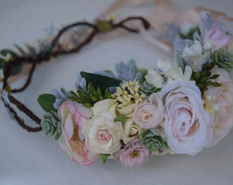 Ivory & Blush Succulent Flower Crown- Bridal Flower Crown - Flower Girl Crown - Seeded Eucalyptus and Dusty Miller Rose Flower Crown- Photos