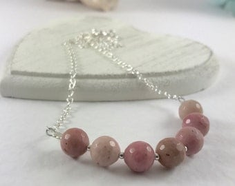 Rhodonite necklace, dusky pink gemstone sterling silver chain necklace