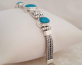"Turquoise and Sterling Silver 7 1/2"" Toggle Bracelet -EB621"