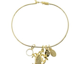 Gold Crab Bracelet with Swarovski Crystal