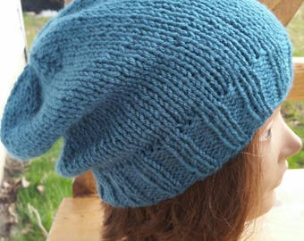 Hand Knit slouchy, Knit Beanie, snowboarding hat, Slouch Hat, Teal Slouch Beanie, Teal Slouchy, Slouchy hat, Dark Teal Slouchy, Snowboarding