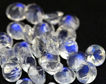 7 mm ROUND (10 pcs) Natural genuine RAINBOW moonstone Round faceted gemstone....