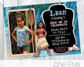 Moana Birthday Invitation with Photo - Printable (5x7)